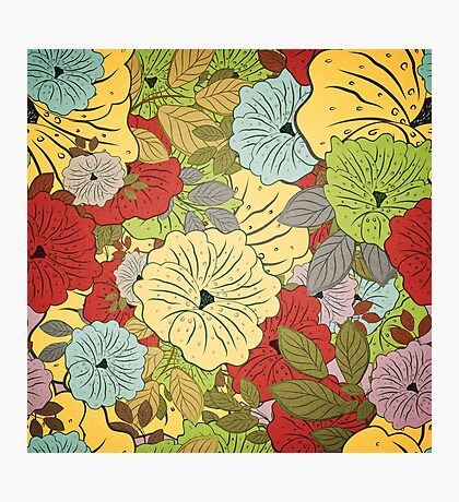 Floral Seamless Grunge Colored Pattern Photographic Print