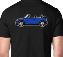 Mini, Cooper, Convertible, BMW, Motor, Car, Soft Top, BLUE, on Black Unisex T-Shirt
