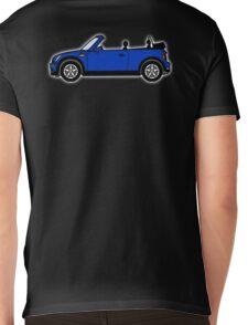 Mini, Cooper, Convertible, BMW, Motor, Car, Soft Top, BLUE, on Black Mens V-Neck T-Shirt