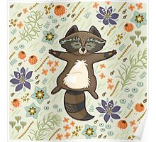 Funny little raccoon on the meadow Poster