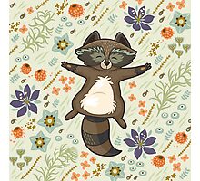 Funny little raccoon on the meadow Photographic Print