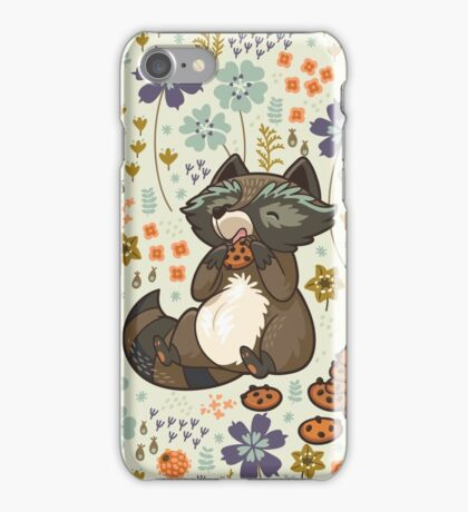 Funny little raccoon eating cookies iPhone Case/Skin