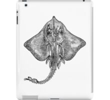 Vintage Sting Ray Fish Illustration Retro 1800s Black and White Image iPad Case/Skin