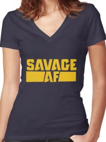 Savage AF Women's Fitted V-Neck T-Shirt