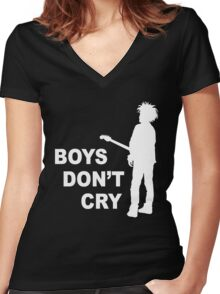 boys don't cry Women's Fitted V-Neck T-Shirt