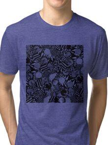Modern Hand Drawn Black White Geometric Shapes Tri-blend T-Shirt