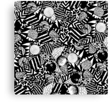 Modern Hand Drawn Black White Geometric Shapes Canvas Print