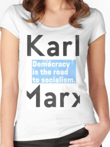 Democracy is the road to socialism BLUE Women's Fitted Scoop T-Shirt