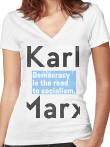 Democracy is the road to socialism BLUE Women's Fitted V-Neck T-Shirt
