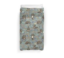 Funny little raccoon in the night Duvet Cover