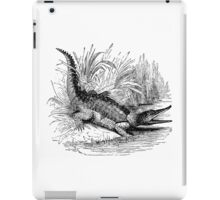 Vintage Crocodile Illustration Retro 1800s Black and White Crocodiles Image iPad Case/Skin