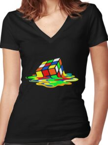 Rubik's Cube Cool Geek Women's Fitted V-Neck T-Shirt