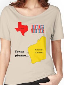 Texas please... dark text Women's Relaxed Fit T-Shirt