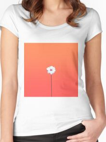 Summery Sunset Orange Gradient and White Daisy Women's Fitted Scoop T-Shirt