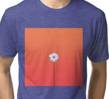 Summery Sunset Orange Gradient and White Daisy Tri-blend T-Shirt