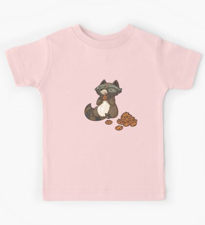 Funny little raccoon eating cookies Kids Tee