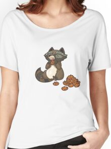 Funny little raccoon eating cookies Women's Relaxed Fit T-Shirt