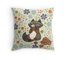 Funny little raccoon eating cookies Throw Pillow
