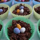 Yummy little chocolate Easter egg nests by Anna Myerscough