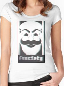 MR. ROBOT F*CK SOCIETY Women's Fitted Scoop T-Shirt
