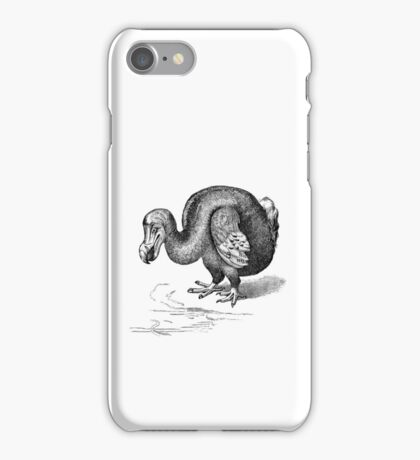 Vintage Dodo Bird Illustration Retro 1800s Black and White Birds Image iPhone Case/Skin