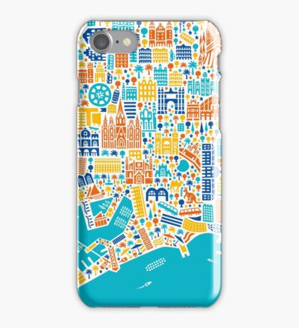 Barcelona City Map Poster iPhone Case/Skin