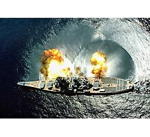 USS Iowa Firing A Full Broadside  Photographic Print
