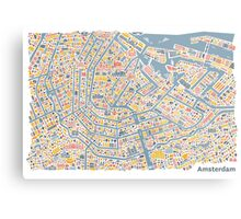 Amsterdam City Map Metal Print