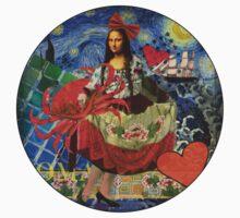 Mona Lisa Starry Night Whimsical Cancer Zodiac Astrology Kids Tee