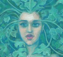 Green Lady, pastel painting, fantasy art, green forest Sticker