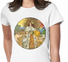 Fine Art Vintage Medieval Portrait Collage Woman Womens Fitted T-Shirt