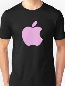 Pink Apple logo on a black background T-Shirt