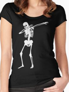 Dab Skeleton Art Women's Fitted Scoop T-Shirt