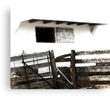 Fence on Country White  Canvas Print