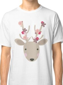 Cute Deer with Flowers  Classic T-Shirt