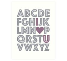 Grey & Purple ABCs I Love You Baby's Nursery Decor Gray Art Print