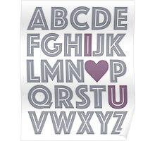 Grey & Purple ABCs I Love You Baby's Nursery Decor Gray Poster