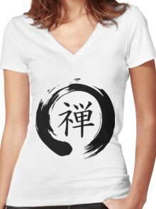 Zen Mindfulness Ensō (Dhyāna) Women's Fitted V-Neck T-Shirt