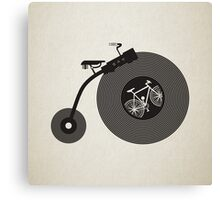 Penny Record Black Canvas Print