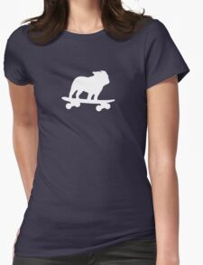 Skateboarding Bulldog Womens Fitted T-Shirt