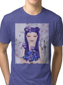 Surreal portrait of a girl with iris bouquet Tri-blend T-Shirt