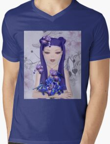 Surreal portrait of a girl with iris bouquet Mens V-Neck T-Shirt