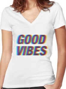 Good Vibes Trippy Women's Fitted V-Neck T-Shirt