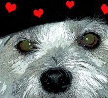 dog with a heart cap Sticker