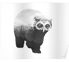 Owlbear in Mountains (Black & White) Poster