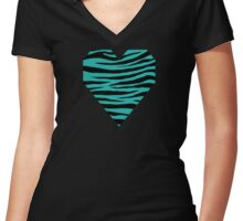 0377 Light Sea Green Tiger Women's Fitted V-Neck T-Shirt