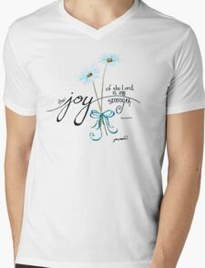 The Joy of the Lord is my Strength outline by Jan Marvin Mens V-Neck T-Shirt