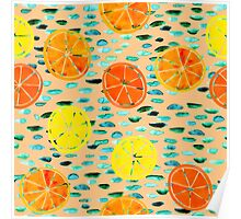 Citrus Lily Pads (Peach) Poster