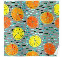 Citrus Lily Pad - Gray Poster