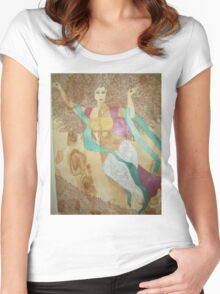 DEVADASI TARA - NATIVE AMERICAN HEALING HINDU BUDDHIST GODDESS TOTEM ART Women's Fitted Scoop T-Shirt